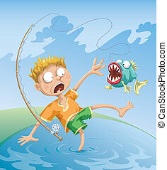 Horrible Fishing Accident - The fisherman caught a terrible...