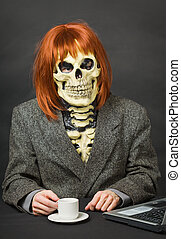 Horrible man - skeleton with red hair drinking coffee -...