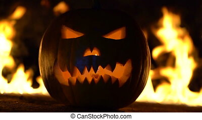 Horrible symbol of Halloween - Jack-o-lantern. Scary head of...