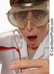 horrified lady technician pouring liquid