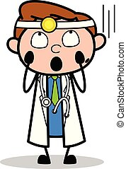 Horrified - Professional Cartoon Doctor Vector Illustration