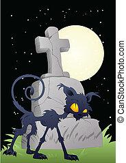 horror, cementerio, -, halloween, vector