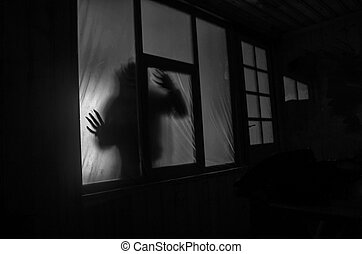 Horror concept. The silhouette of a human with sprayed arms in front of a window. at night.
