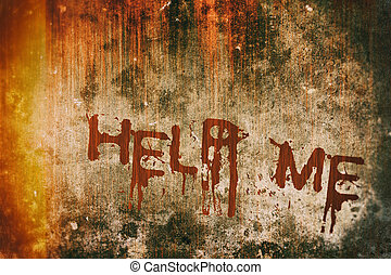 Horror Crime Concept. Help Message on Bloody Background Wall