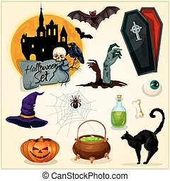 Horror decoration elements for Halloween design