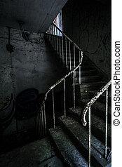 horror, escalera, y, escondido, escalofriante, mano