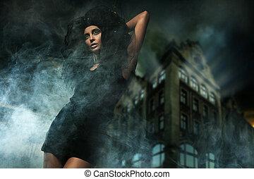 horror, estilo, foto, de, un, hermoso, dama