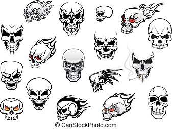 Horror, Halloween and danger skulls set for tattoo, mascot, ...