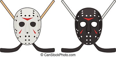 Horror hockey Mask for Halloween. Vector Design of black and...