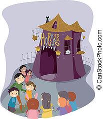 Horror House - Illustration of Kids Preparing to Go Inside a...