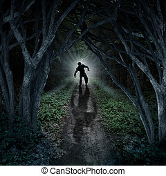 Horror monster walking in a dark forest as a scary fantasy concept with a creepy thing coming out of a remote wilderness background with a moon glow behind it as a halloween fear symbol of haunted woods and panic anxiety.