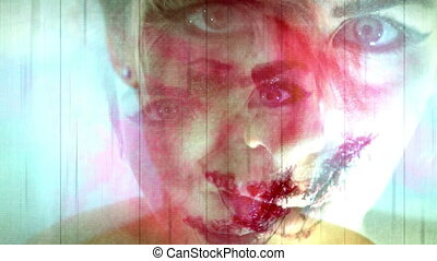 Horror Montage Blue Concept Hear No Evil Speak no Evil