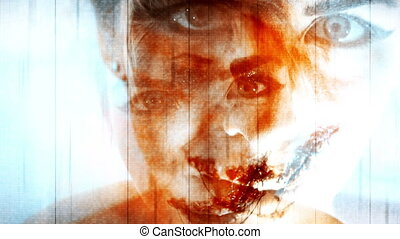 Horror Montage Blue Hue Abstract Scary