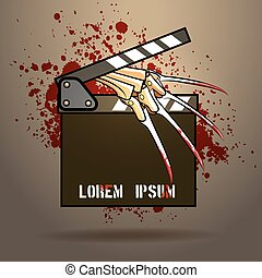 Horror Movie - Clapperboard with razor glove against blood...
