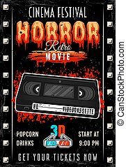 Horror movie colored retro poster with videotape