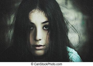 horror, movie., desenho, femininas, grungy, retrato, seu