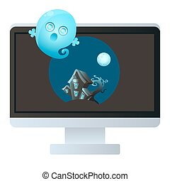 Horror movie. House with ghost on a computer monitor. Vector...