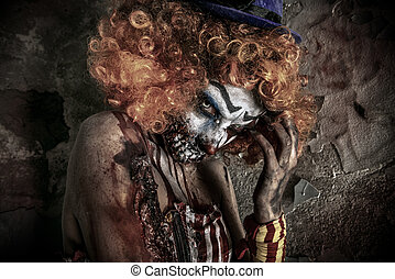 horror movie - Portrait of a terrible bloody redhead clown....