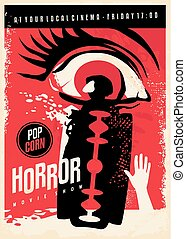 Horror movie poster design with scary eye and bloody razor ...