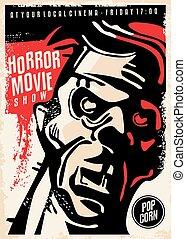 Horror movie show cinema poster with dangerous bloody zombie character portrait. Monster film festival retro flyer. Vector artistic illustration.
