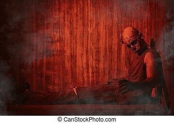 horror movie - Frightening bloody zombie man in blood-red...