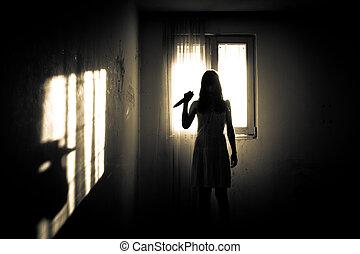 horror, mujer, escena, escalofriante
