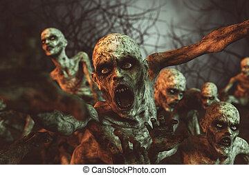 horror, nacht, zombies, abbildung