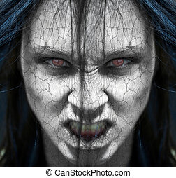 Horror - Girl possessed by the devil looks at you out of...