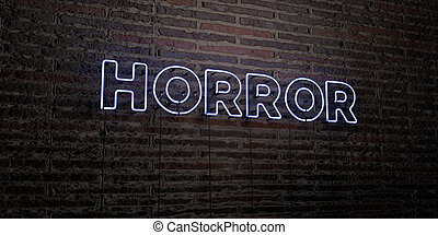 HORROR -Realistic Neon Sign on Brick Wall background - 3D rendered royalty free stock image. Can be used for online banner ads and direct mailers.