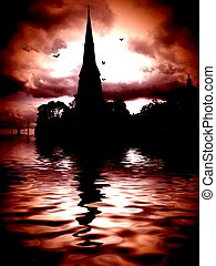 Gothic scene with spooky building and bats