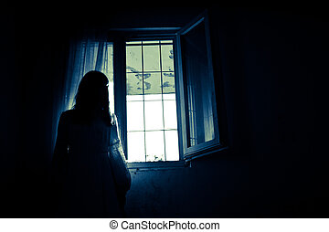 Horror Scene of a Creepy Woman in the Wedding Dress