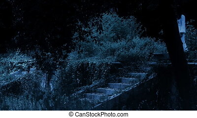 Horror Scene of a Scary Woman - Female walking at the stairs...