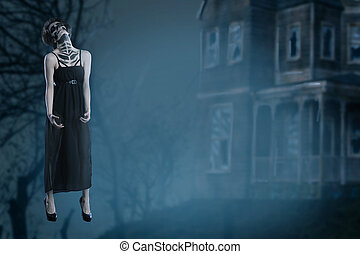 Horror scene of a scary woman. Woman ghost soaring in the air.