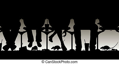 Horror show - Editable vector illustration of people in a ...