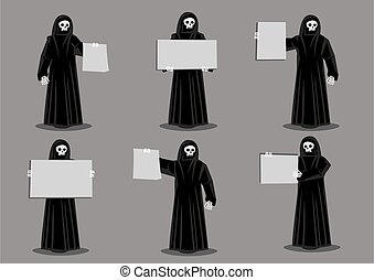 Set of six vector illustration of cartoon skeleton dressed in long black robe and holding blank placard with copy space isolated on grey background for horror and halloween concept.