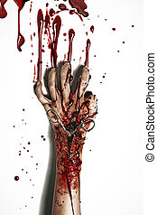 Horror style picture of a bleeding hand - Horror style...