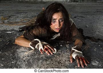 horror, színhely, noha, rosszul használt, nő