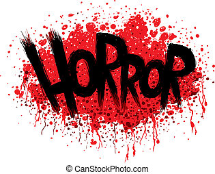 The word HORROR in a bloody, splattered font.