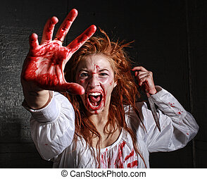 Horror Themed Image With Bleeding Freightened Woman - Woman...