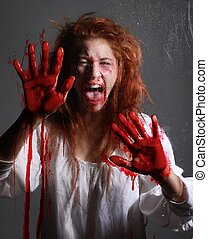 Horror Themed Image With Bleeding Frightened Woman - Woman...