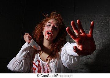 horror, themed, kép, noha, vérzés, megijedt, nő