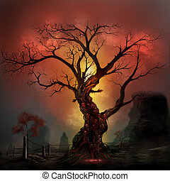 Scary horror tree with zombie and monster demon faces.
