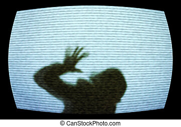 Horror tv - Ghost try to come out from tv