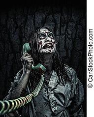 horror, zombie, menina, chamando, por, telefone