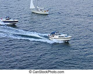hors-bord, besoin, vitesse, -, mer