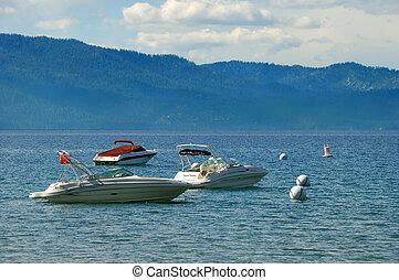 hors-bord, californie, trois, tahoe, lac