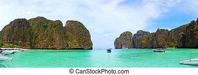 hors-bord, maya, baie, thaïlande