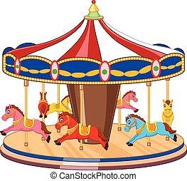 hors, carrousel, dessin animé, coloré