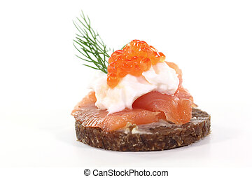 Hors d oeuvre - Pumpernickel bread with smoked salmon, cream...