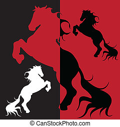 horse - abstract illustration, silhouette on black and red